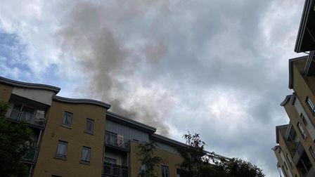 Smoke billowing from the building at Yeoman Close