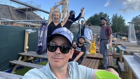Brad Baxter and his team on the rooftop at Gonzo's Tea Room in Norwich, as they created 'corona cubi
