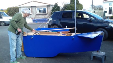 Members of Watton Rotary Club have been making a small boat from a ShelterBox