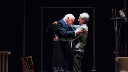 Oliver Ford Davies and Stephen Boxerin A Splinter of Ice, which can be seen at Cambridge Arts Theatre.