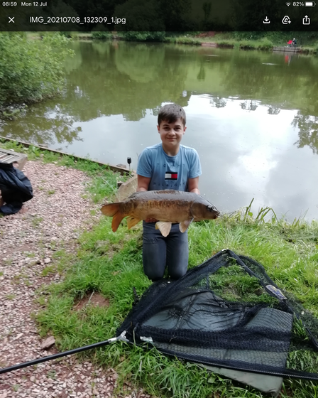 Jack Gove with his first ever Carp weighing 19lbs from Newbarn