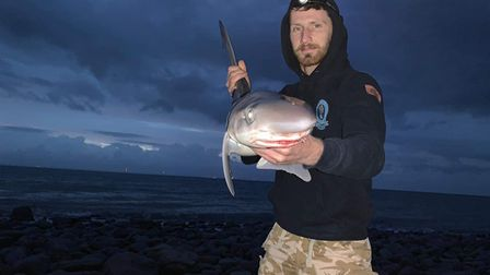 George Drew with a shore caught Tope