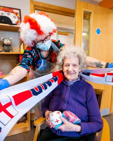 Staff and residents joined in the fun at the Hunters Down care home in Huntingdon.