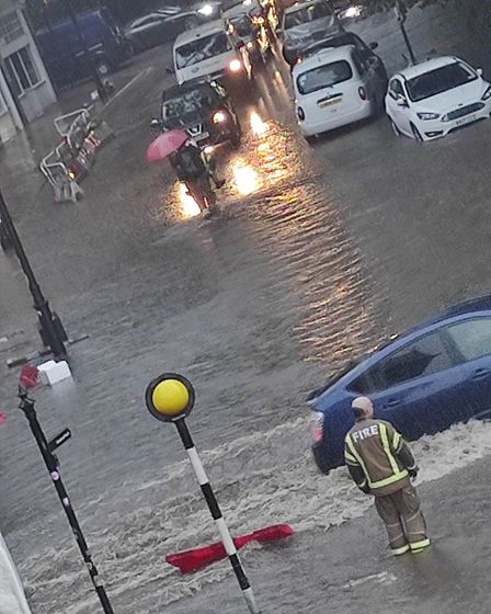 Flash flooding in South End Green on July 12 2021