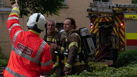 Fire crews at blaze at a block of flats in Ipswich