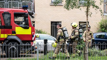 Firefighters at the scene in Yeoman Close