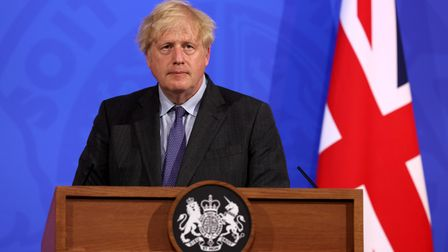 Prime Minister Boris Johnson during a briefing in Downing Street on coronavirus