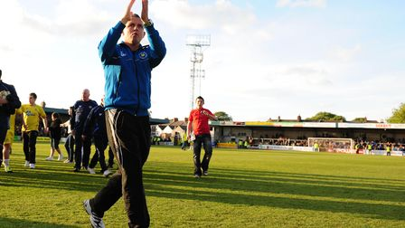 Torquay United's Manager, Paul Buckle thanks the fans for their support