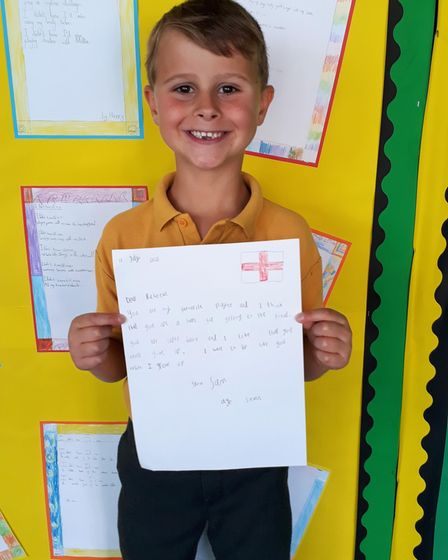 Sam with his letter