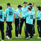 Surrey celebrate taking wicket during the Vitality Blast T20 match at the Kia Oval, London. Picture