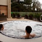 An outdoor hot tub at the spa.