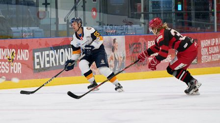 Raiders defenceman Sean Barry in action during the NIHL Spring Cup