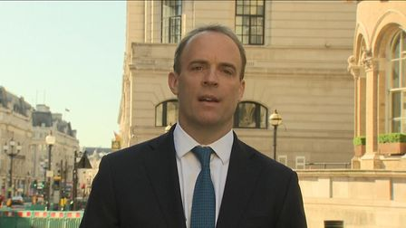 Dominic Raab appears on Sky News. Photograph: Sky.