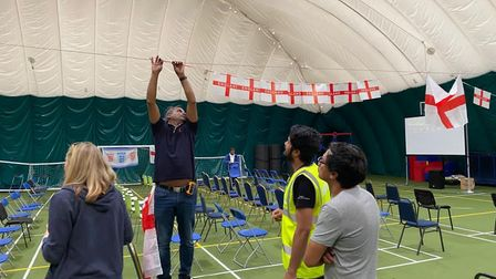 Hanging the bunting in Queen's Crescent before the Dome played host to a Euro 2020 final screening