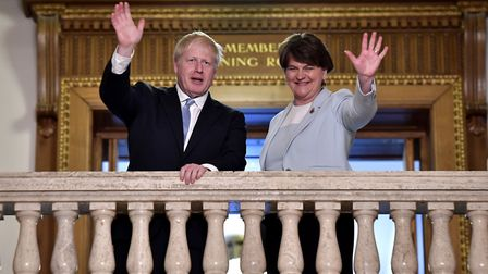 Boris Johnson meets with DUP leader Arlene Foster at Stormont. (Photo by Charles McQuillan/Getty Ima