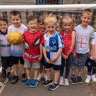 Pupils at Milton Park Primary School enjoying the England European Cup Final exicitement.