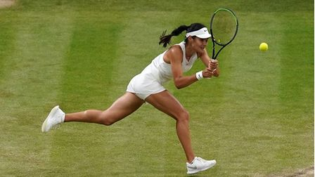 Lady tennis star in action
