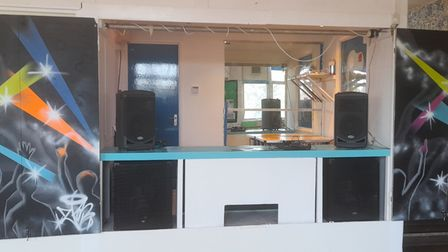 The renovated DJ booth