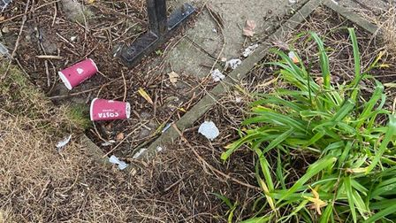 Drugs paraphernalia and litter in the Premier Inn Norwich Nelson City Centre hotel grounds