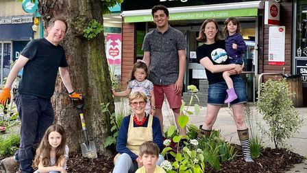 Linda Grove, Daniel Glaser, Max Friedlander and Sinead Burke with their families at the pocket garden in Haverstock Hill