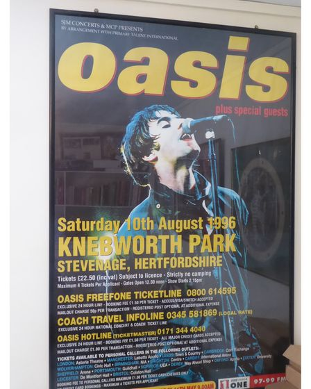 An Oasis poster for the band's Knebworth concert on Saturday, August 10, 1996.