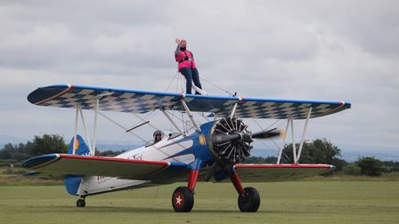 Super gran Elana Overs strapped in for her charity wing walk.