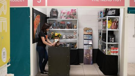 Bridie Burn in her new shop The Nerd Hut, one of the units in Ipswich Microshops