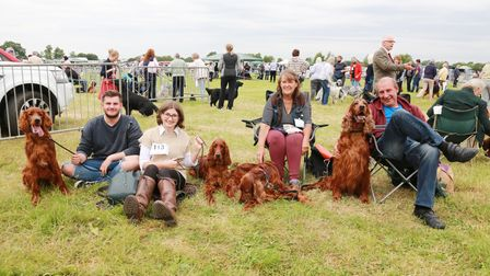 Jack Webster with Ozzie, Megan Corden with Skye and Maddie, Helen Stevens and Gary Stevens with Marl