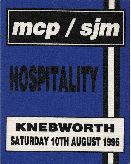 A hospitality patch for the Oasis concert at Knebworth in 1996