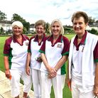 Pauline Taylor and Jenny McEvoy of Harpenden Bowling Club (middle two)