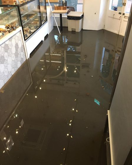 Flooding at Euphorium bakery in South End Green