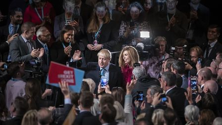 Prime Minister Boris Johnson and Carrie Symonds at the Conservative Party Conference. Photograph: Da
