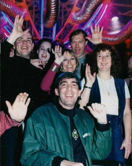 """Peter """"Dicko"""" Dickerson surrounded by fans at Ritzy in Norwich"""