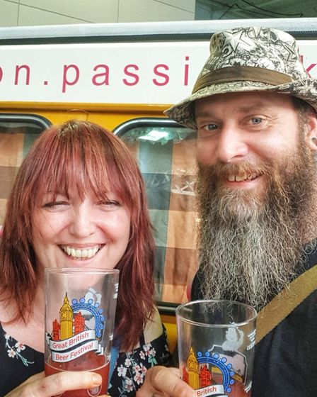 Rose Pub and Deli landlord Dawn Hopkins with her partner Carl Newell, who died in March 2020.