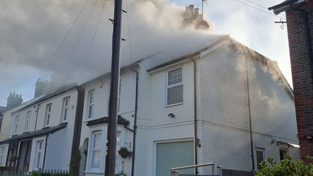 The house fire in Tennyson Road, Harpenden.