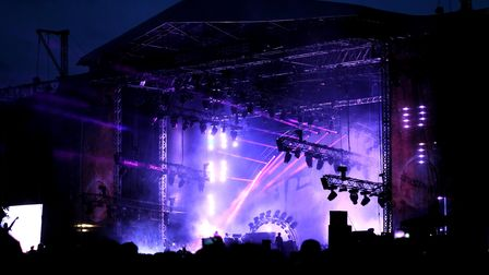 The Prodigy take to the Apollo stage at the 2014 Sonisphere Festival at Knebworth Park.