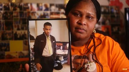 The Impact Of Knife Crime: Jessica Plummer with photo of Shaquan Sammy-Plummer