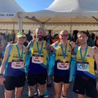 Mike Martin, Gareth Parker, Seb Rowe and Steve Buckle of St Albans Striders at the Valencia Marathon