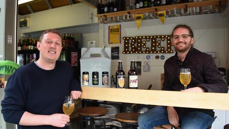 Toby Westgarth, left, and Dominic Burke, co-owners of Sir Toby's Beers, a licensed bar on Norwich Ma
