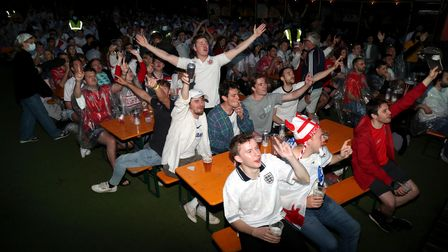 England fans at Vinegar Yard, London as they watch the UEFA Euro 2020 Final between Italy and Englan