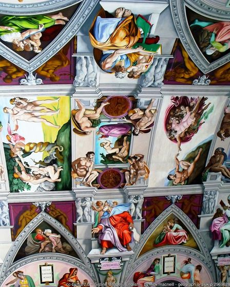 The ceiling of English Martyrs Church in Worthing, a beautiful homage to Michelangelo's masterpiece