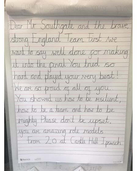 The original letter written by year 2 class 2O