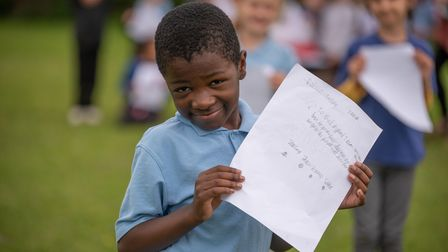 One of the pupils from class 2O with his handwritten letter