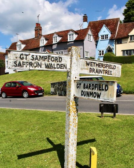 An old signpost in a picture-perfect village - Finchingfield.