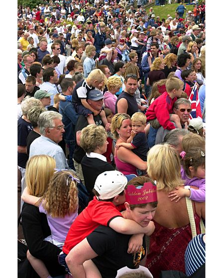 Crowds watching the Queen's Golden Jubilee entertainment outsidethe Spa Pavilion in 2002