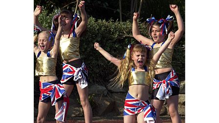 """Young dancers rehearsing for jubilee """"Giant Music Man"""" dance outside the Spa Pavilion"""