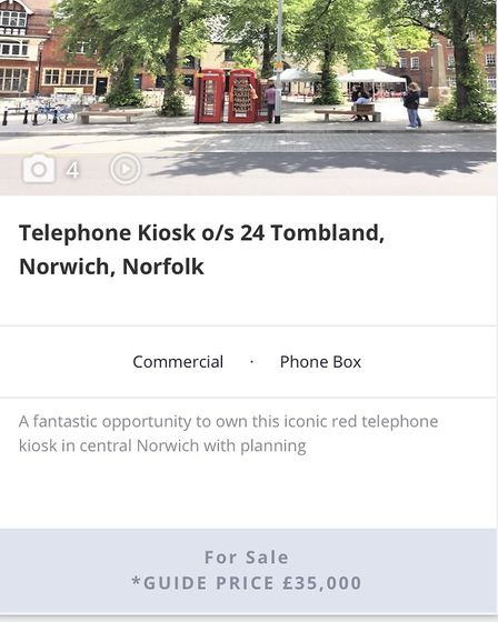 red phone box in Norwich for sale