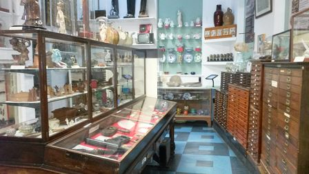 Display cabinets at Ilfracombe Museum.