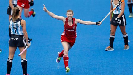 Great Britain's Helen Richardson-Walsh celebrates scoring their second goal during the pool match be