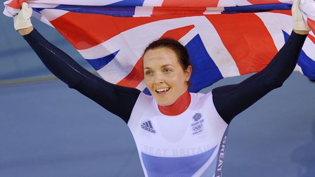 Great Britain's Victoria Pendleton celebrates after winning the Gold medal in the Women's Keirin at